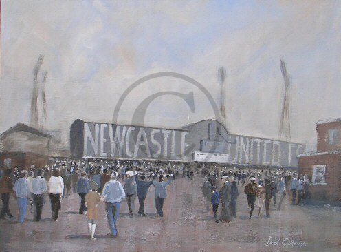 The West Stand,  original  football painting, Dick Gilhespy