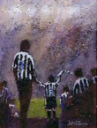 Twin strikers: NUFC supporters painting by Dick Gilhespy
